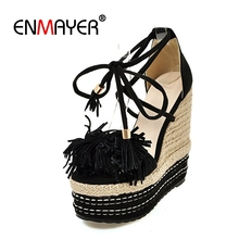 ENMAYER 2019 Cow Suede Gladiator High Heels Sandals Women Fringe Casual Lace-Up  Shoes Woman Solid Size 34-39 LY3000