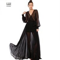LZJ New Summer Sexy Deep V Neck Perspective Hollow Wave Point Long Sleeved Folds Lace Mesh