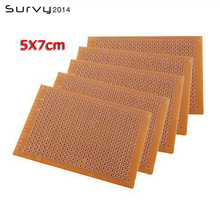 цена на 5PCS Universal PCB Board 50x70 mm 2.54mm Hole Pitch DIY Prototype Paper Printed Circuit Board Panel 5x7 cm Single Sided Board