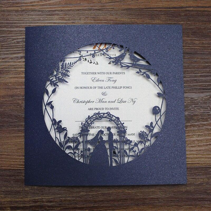Bride groom laser cut wed invitation customized printing engagement invitation set 50pcs lot