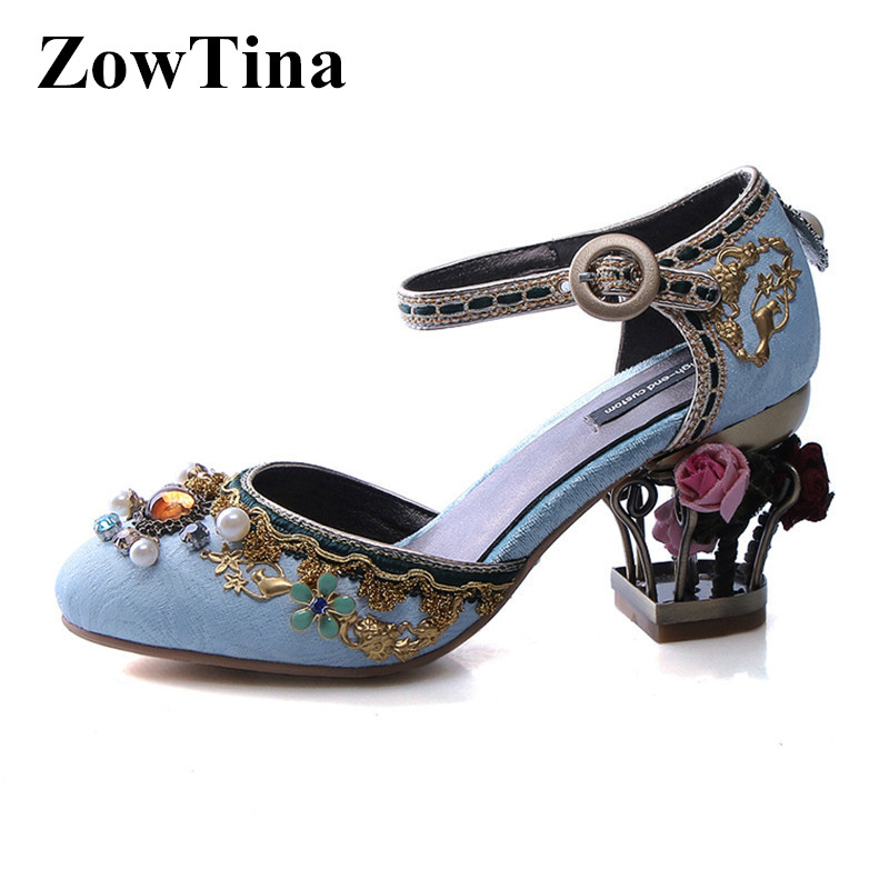 Lolita Fashion Women Blue Velvets Pumps Round Toe High Heels Formal Dress Party Shoes Ladies Red