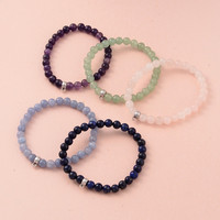 muli color Round Natural crystal Beaded Stretch Bracelets, with Antique Silver Plated Alloy Hanger Links, 57mm