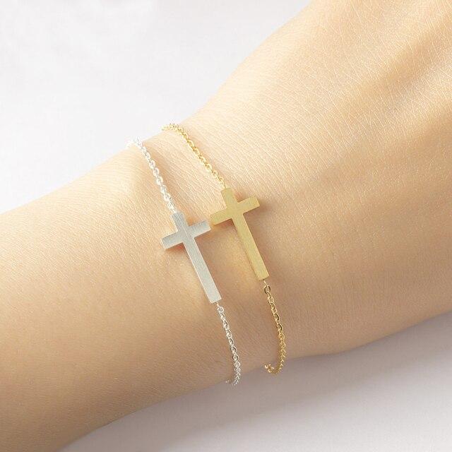 Stainless Steel Sideways Corss Bracelets For Women Christian Catholic Jewelry Best Friend Gifts Children Bracelet Femme