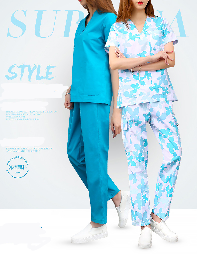 Medical Scrub Sets Hospital Doctors Nurses Short-sleeved Uniform Suits Dental Oral Clinic Beauty Salon Workwear Overalls Clothes