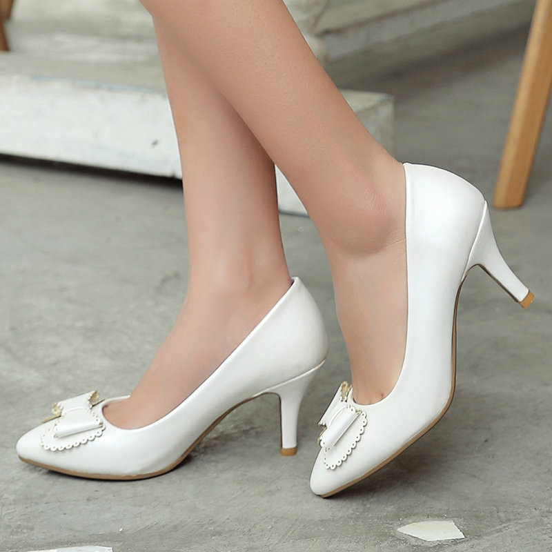 ФОТО Pink Thin High Heel Platform Ladies Summer Shoes PU leather Woman Pump Bow Tie Pointed Toe Ladies Wedding Shoe Size 34-42