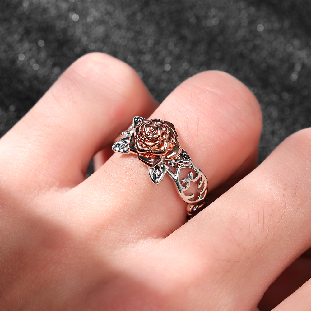 2019 Rose Garden Flower Leaves Finger Rings For Women Valentine S