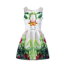 Cute Girls Dresses Kids Cartoon Printing Casual Clothing Suitable for 6-12 Years Children Vest Dress цены