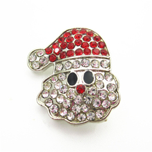 New 10pcs/lot Crystal Christmas Santa Claus Snap Buttons for 18mm Snap Bracelet&Bangles DIY Snap Jewelry Charms