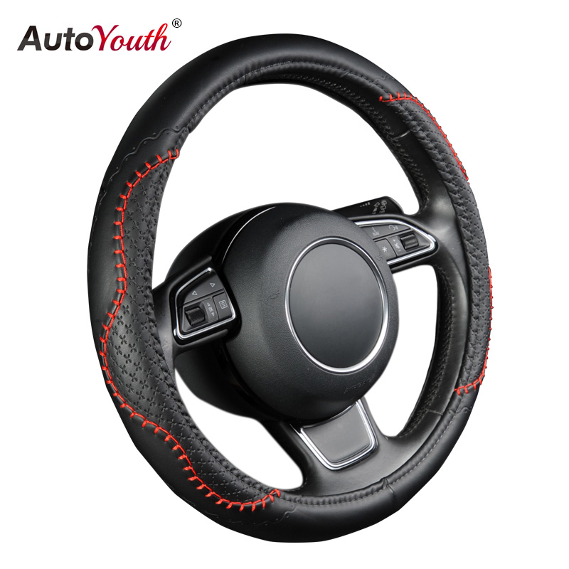 AUTOYOUTH Fashion PU Leather Steering Wheel Cover Fits 38cm/15 inch Diameter Hot Sale Red Wavy Bold Line Splice X-stitch Pattern autoyouth hot car wheel cover pu leather steering wheel cover fit 38cm red wavy bold line for vw golf 4