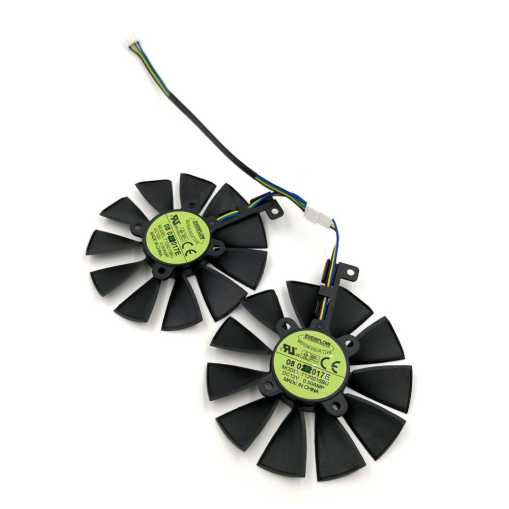 Original EVERFLOW T129215BU Ball Bearing Replacement Graphics Fan for VGA Card ASUS ROG STRIX GTX1070Ti GTX1060 GTX1050Ti RX580 2pcs lot everflow t128010sm 75mm dc 12v 0 2a graphics card cooler fan for vga video card xfx hd6790 hd6950