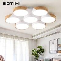 BOTIMI LED Ceiling lights For Foyer Round Ceiling Lamp Modern Metal Bedroom Lightings Wooden Room Lighting Kitchen Wood Lamps