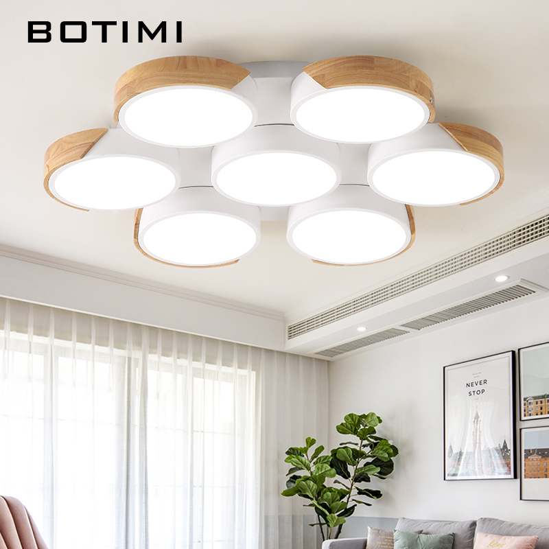 BOTIMI светодиодный Потолочные светильники для фойе круглый потолочный светильник современный металлический светильник для спальни деревян