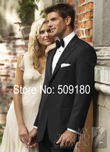 (Coat+Pants) Black Mens Wedding Suits Peak Lapel Terno Noivo Shirt Measurements Men Wedding Dress TZ73004 Customized Mans Wear