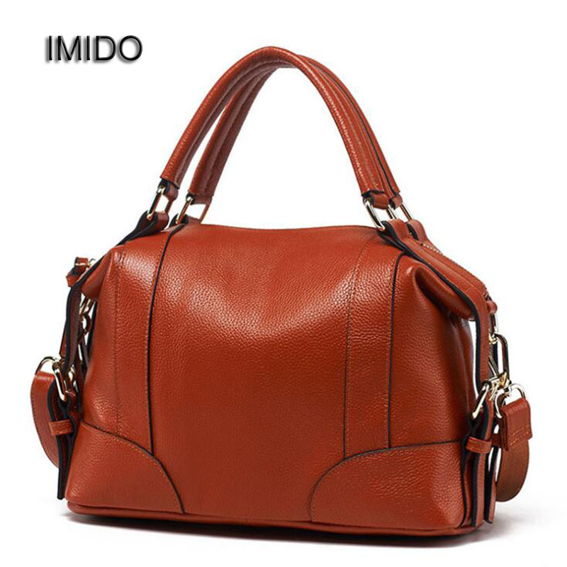 IMIDO Brand Fashion Female Handbag Genuine Leather Shoulder Messenger Bags Ladies Zipper boston Bag for Women Totes Black HDG014 qiaobao new famous brand bag 100% genuine leather bags for women handbag fashion ladies shoulder messenger bags cowhide totes