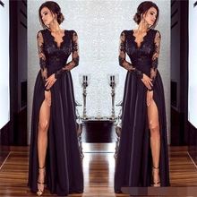 цена на 2019 Black V Neck Long Sleeves Satin Evening Dress 2019 abiye gece elbisesi Lace Top Split A Line Prom Dresses robe de soiree