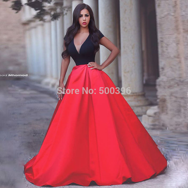 Black and Red Satin Concise Prom Dresses 2017 New Arrival V neck ...