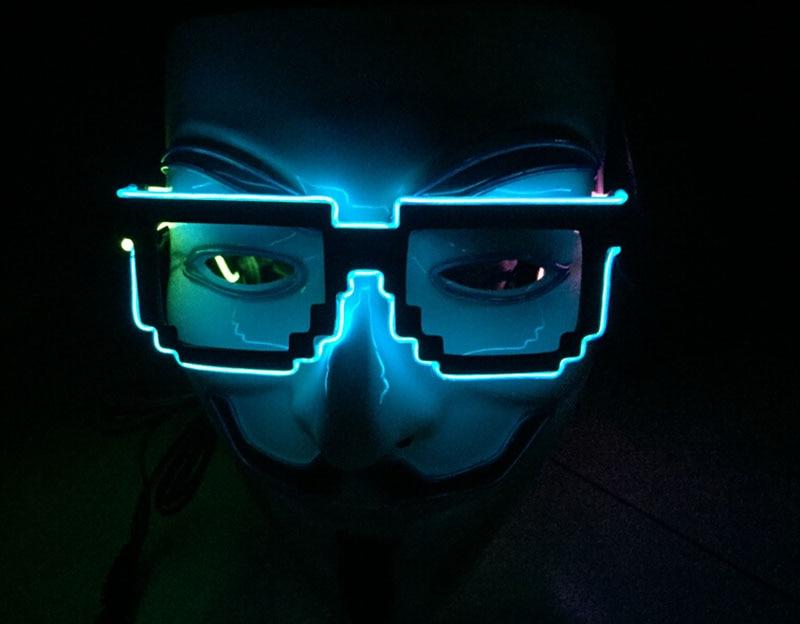 1pc lot factory sell 8 bit pixel light up el wire led flashing glasses edm edc