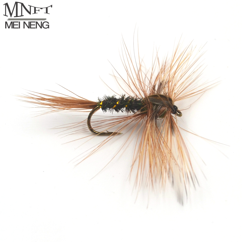 MNFT 10Pcs/Lot 8# Brown Hackle Golden Herl Rib Dark Peacock Nymph Bait Trout Fly Fishing Flies & Lures mnft 10pcs 14 plastic golden bead head nymph fly larva flies brim perch baits small bugs for trout bream blue gill fly fishing