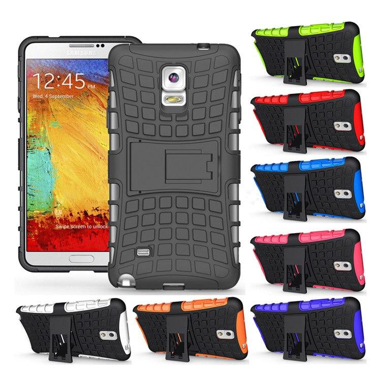 Cubierta Armaduras titular caso híbrido Slim shockproof defender hard stand silicona resistente para Samsung Galaxy note 4 note4 n910 n9100