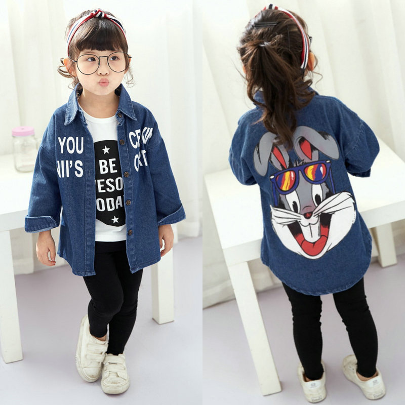 Spring autumn New Cute Child Girls Blouse casual Style Long Sleeve School Girl letter pattern denim