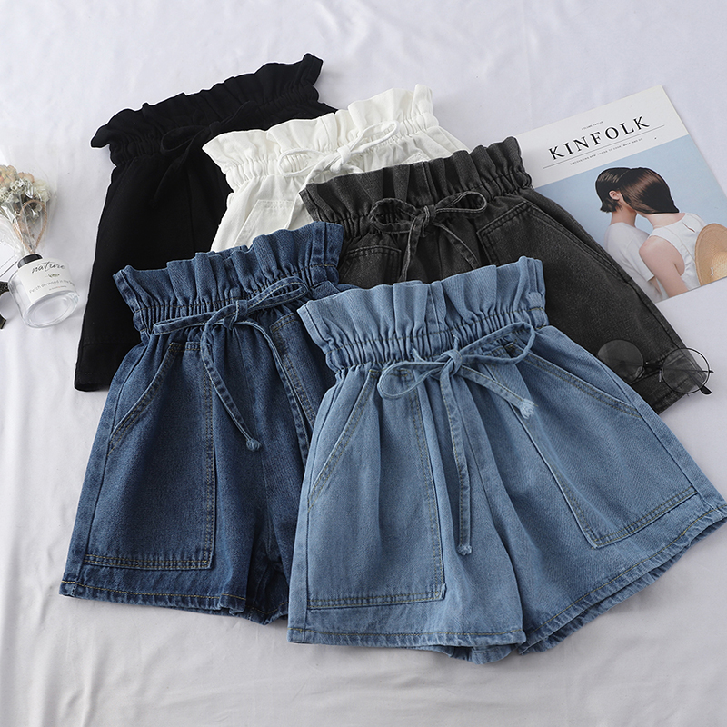 2020 Summer High Waist Denim Shorts Women Casual Loose Ladies Vintage Lace-up Elastic Waist Pocket Blue White Black Jeans Female