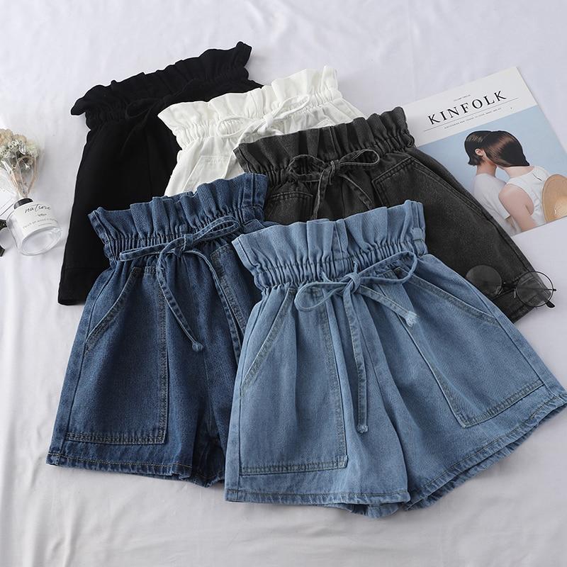 2020 Summer High Waist Denim Shorts Women Casual Loose Ladies Vintage Lace-up Elastic Waist Pocket Blue White Black Jeans Female