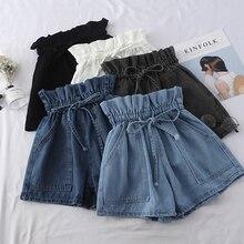 Denim Shorts Jeans Loose Black White High-Waist Ladies Waist-Pocket Elastic Lace-Up Blue