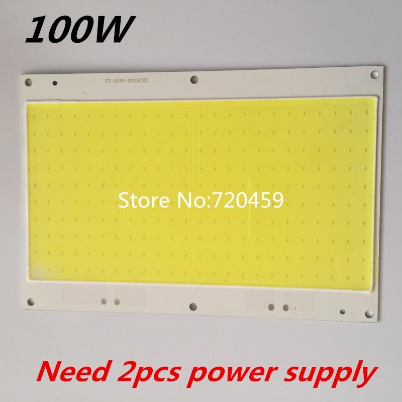 2pcs DC30-33V LED High Power COB Chip lamp Beads White 100W DIY Outdoor FloodLight Spotlight Light