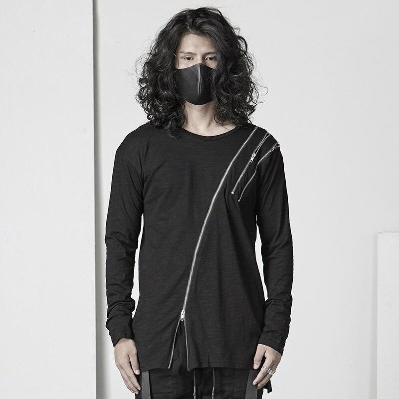 T-shirt asymétrique à manches longues en coton gothique hommes personnalité sombre chemise col rond Streetwear hommes t-shirts mode 2018