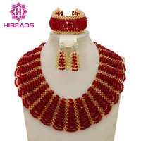 Hot Red Statement Choker Necklace African Wedding Beads for Women Set Dubai Costume Bridal Lace Jewelry Set Free Shipping ABF550