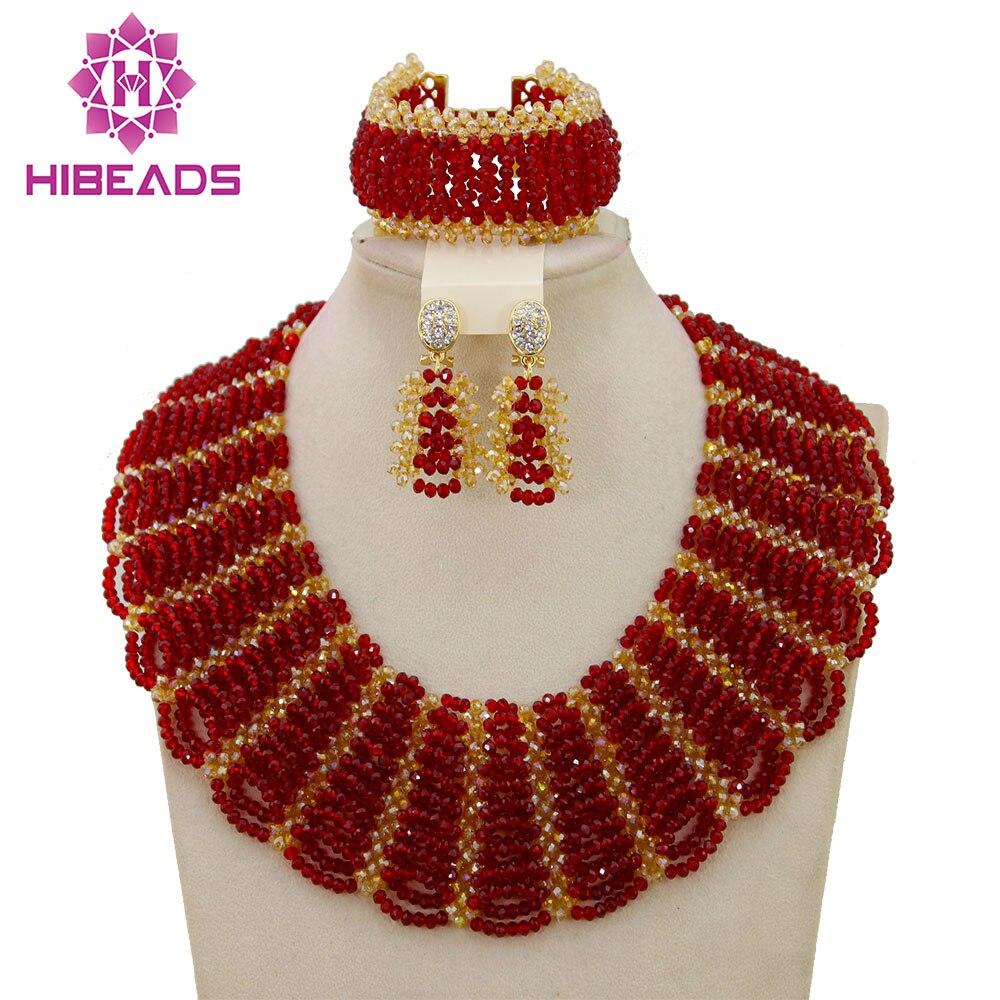 Hot rouge déclaration collier ras du cou perles de mariage africaines pour les femmes ensemble Dubai Costume de mariée dentelle bijoux ensemble livraison gratuite ABF550