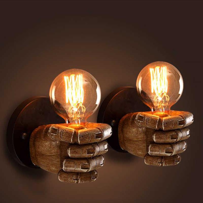 Lyfs 7,5X11 см творческий кулак смолы настенные светильники украшения кафе ресторанная спальня настенный светильник E27 90 V-260 V