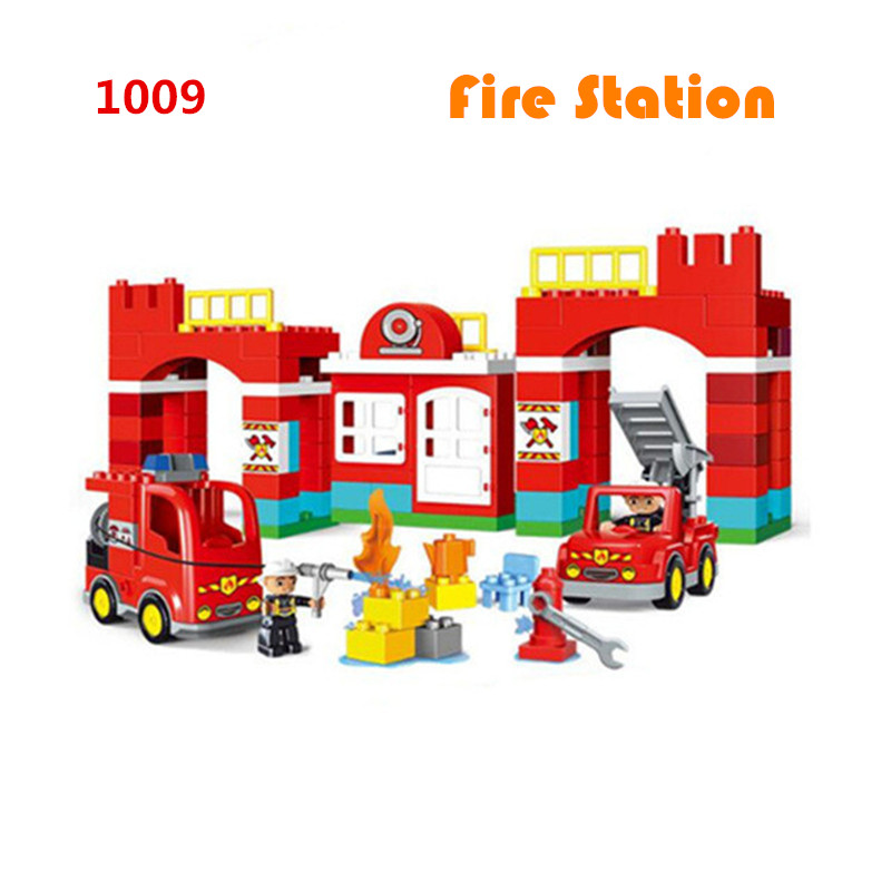109pcs Diy Big Size City Fire Station Firemen Model legoing Building Blocks Compatible With Duploe Bricks Toys For Children gift 102pcs diy big size building blocks bricks city creative with educational compatible with legoing duploe toys for children gifts