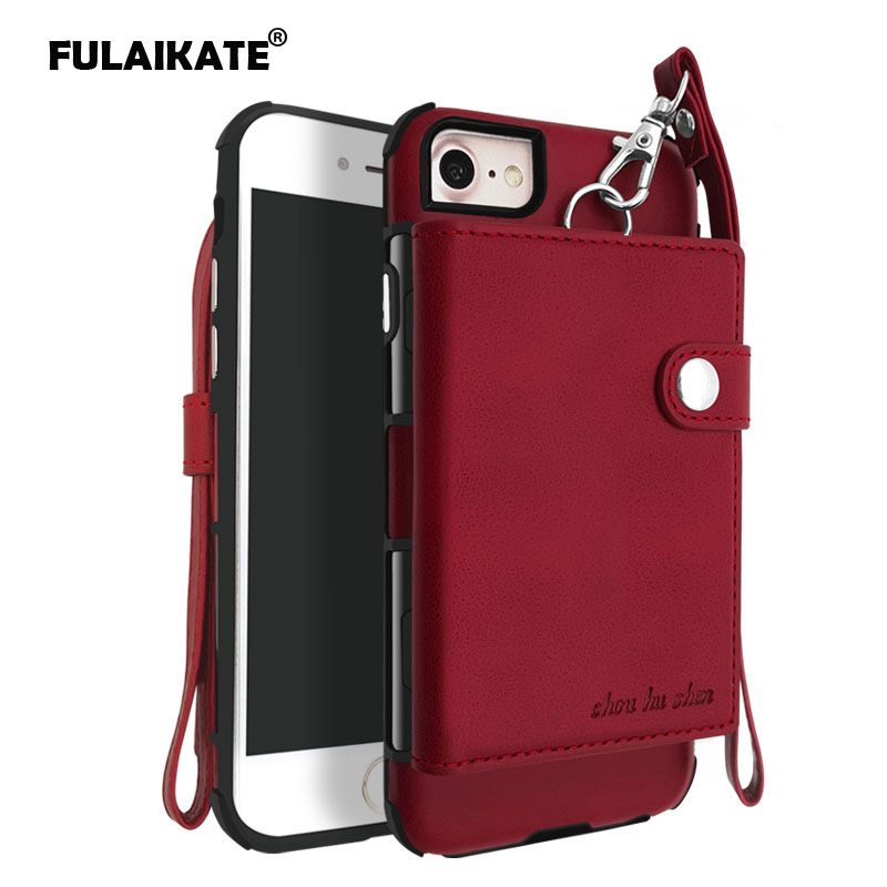 FULAIKATE Striae Strap Universal Case for iPhone 7 Card Pocket Back Cover for iPhone 6 6s Phone Protective Cases for iPhone 8 in Fitted Cases from Cellphones Telecommunications