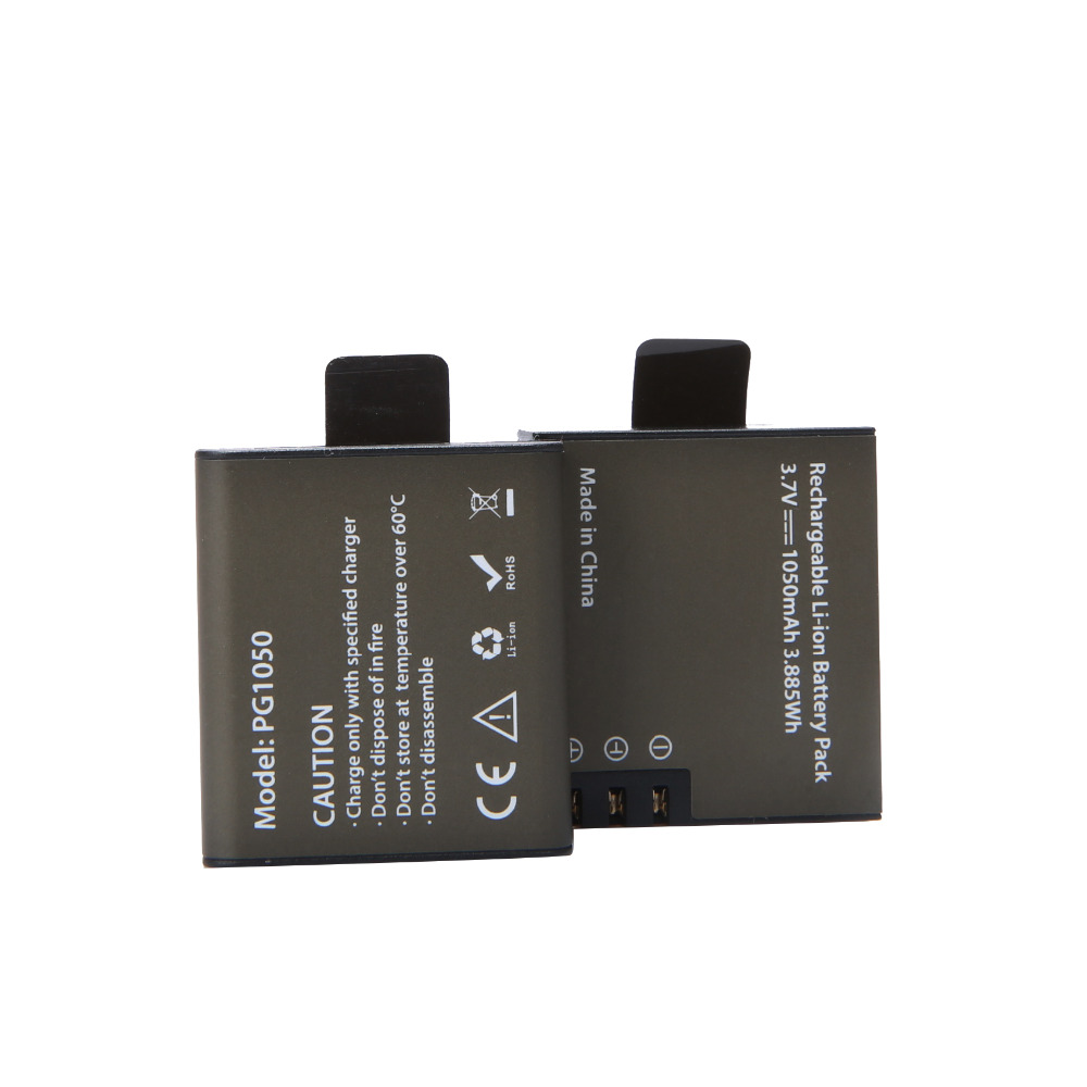 AOPULY Rechargeable <font><b>Battery</b></font> 2Pcs PG1050 For SJCAM SJ4000 SJ5000 SJ6000 SJ8000 EKEN 4K H8 H9 GIT-LB101 GIT <font><b>PG900</b></font> 1050 <font><b>BATTERY</b></font> image