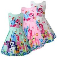Милое платье принцессы из полиэстера для девочек, летние детские платья без рукавов с мультяшным принтом вечерние свадебное платье, детска...