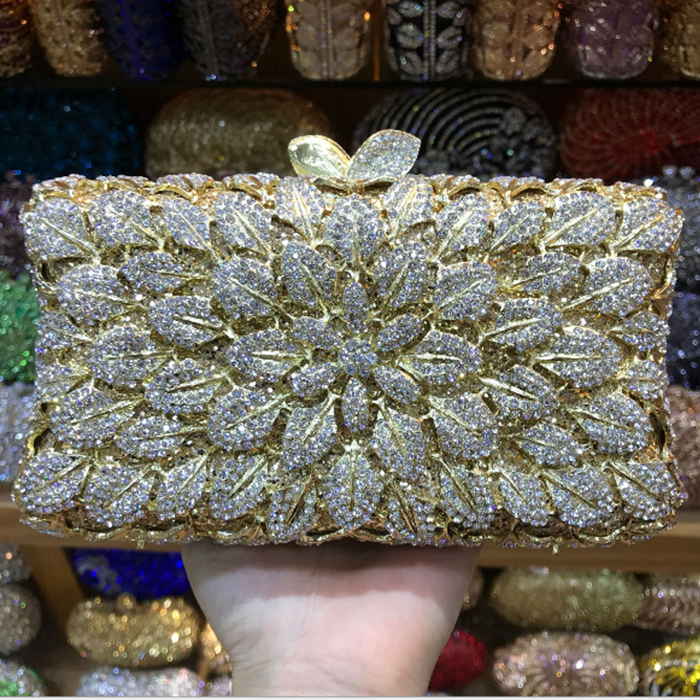 Women multi colour Crystal Evening Clutch Bag Hollow Out Metal blue gold day Clutches For Bridal Wedding Party Handbag Purse
