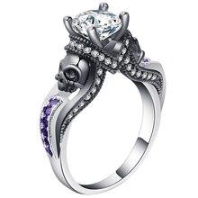2019 женские кольца с черепом розовый красный черный фиолетовый синий зеленый CZ камень Панк стиль вечерние кольца для камень череп мужские ювелирные изделия кольца