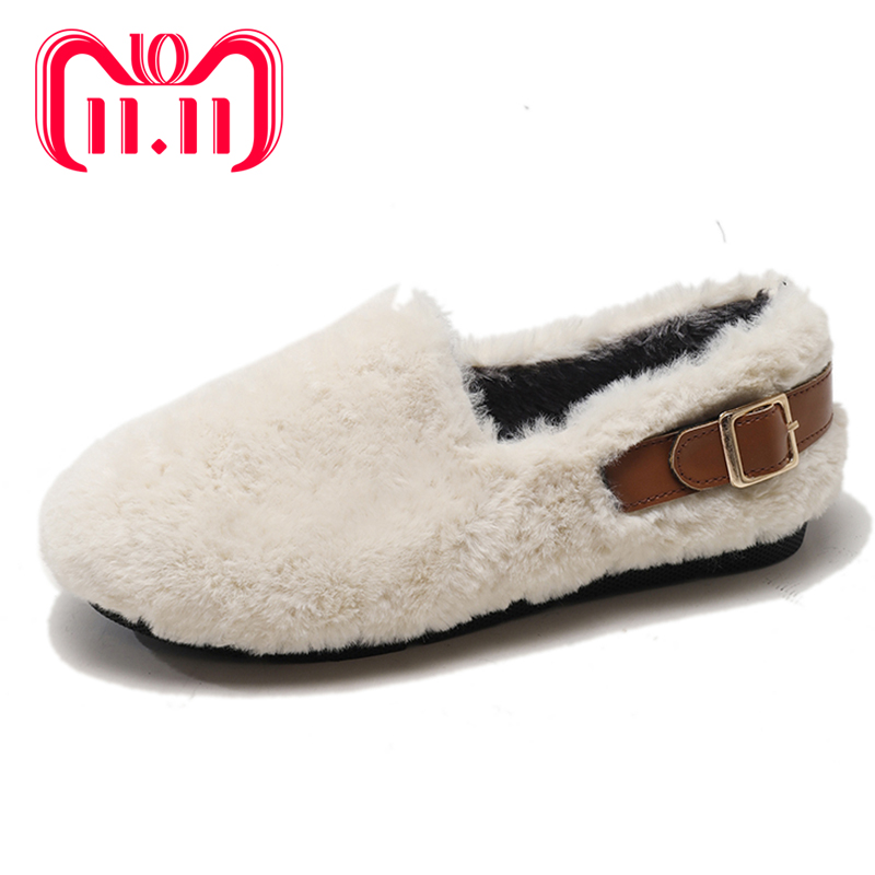 Moxxy Warm Winter Slippers Woman Slip On Soft Plush Home Slippers Flat Shoes Woman Shoes Indoor Fur Flip Flop Women Mules Buckle