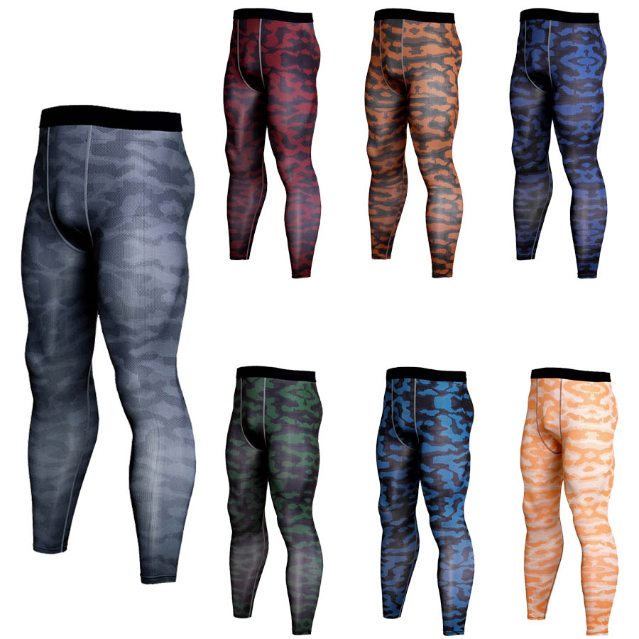 Mens Crossfit Camouflage Tights Running Men Compression Pants Skinny Leggings Sport Wear For Men Gym Fitness Trousers Long Pants