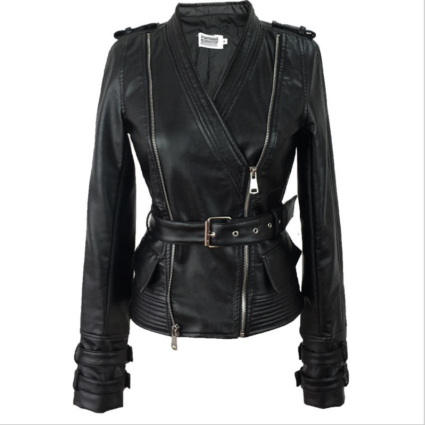 Wholesale England style Locomotive style pu   leather   jacket female was thin slim retro jacket ins fashion jackets wq1726 factory