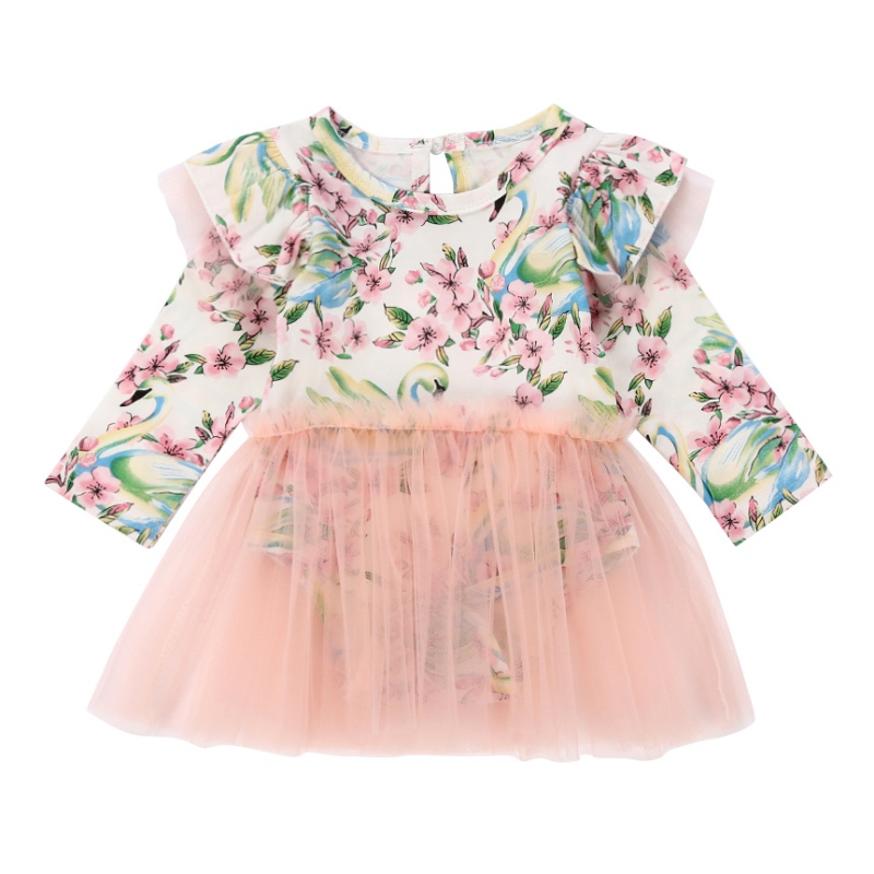 цены Infant Baby Girl Kid Floral Long Sleeve Romper Jumpsuit Cotton Outfit With Gauze Dress