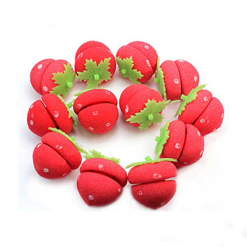 Hot 12pcs Strawberry Balls Hair Care Soft Rollers Styling Curlers Lovely DIY Tools 02RU 2TP4 7D3E 8WBG