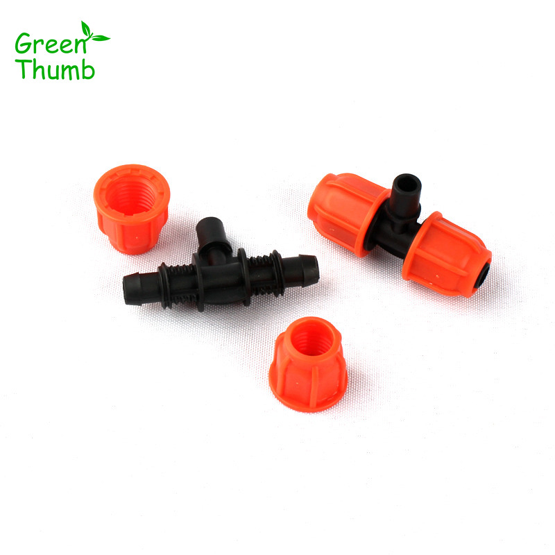 7pcs Green Thumb 8/11mm to 6mm Thread Lock Tee Connector for Micro Irrigation Garden Veg Plot Planting Fittings