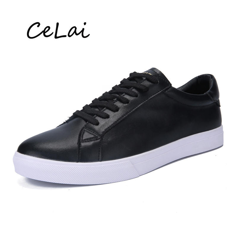 CeLai 2019 New Arrivals Casual Mens Shoes Sneakers Lace Up Pu Men Leather Shoes Lightweight Breathable Shoes Flats Tennis A-019