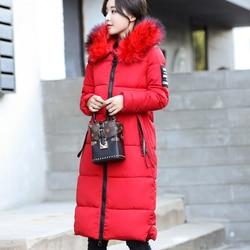 Winter Women's Down Parkas Winter Jacket Big Fur Thick Slim Long Coat Fashion Zipper Hooded Female Long Outerwear C88023L 2