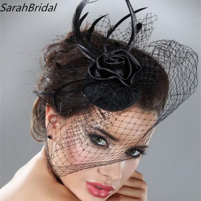 Mini Hat Wedding Bridal Birdcage Veil With Black Feather Blusher Fascinator Tulle Hair Flower
