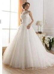 wuzhiyi wedding dress Princess Lace wedding gown Scoop bridal gown Luxury white gown sleeveless vestido de novia Vintage wedding 2