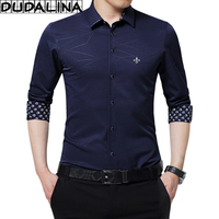 DUDALINA Geometric Men Clothes Slim Fit Men Long Sleeve Shirt Collar Printe Casual Men Social Shirt