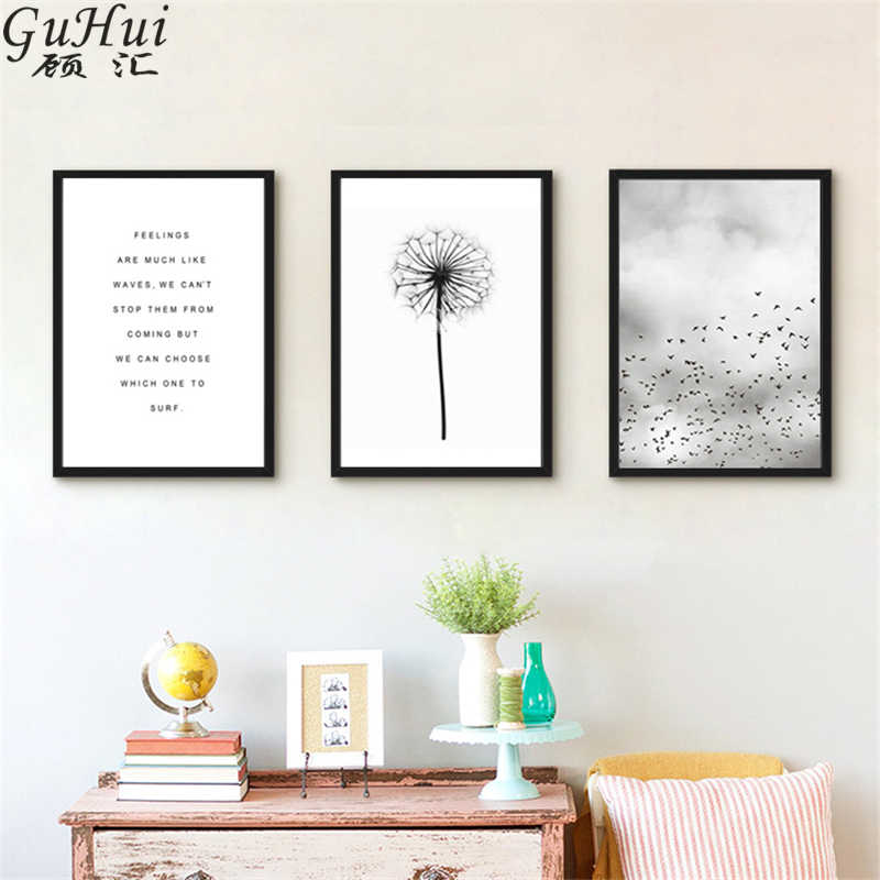 Scandinavian Black White Minimalist Dandelion Canvas Painting Living Room Decoration Flying Birds Wall Picture Text Art Poster